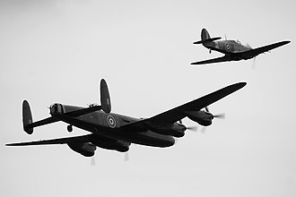 Duxford - Planes flying in an airshow in Duxford