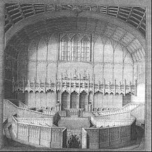 A detailed engraving of a courtroom
