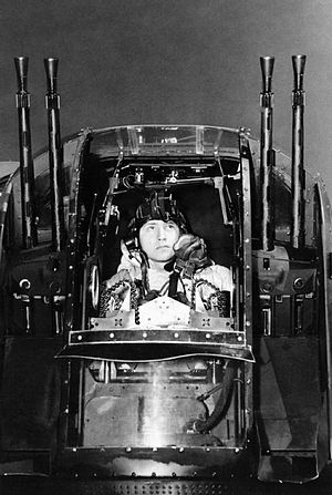 No. 630 Squadron RAF - Flight sergeant J Morgan, the rear gunner of an Avro Lancaster of No. 630 Squadron at RAF East Kirkby, checks his guns before taking off on a night raid on the marshalling yards at Juvisy-sur-Orge, France