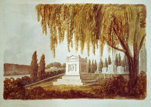 Congressional Cemetery - Architectural drawing of Vice President George Clinton's monument by Benjamin Latrobe, 1812.  Clinton was later reinterred in New York.  The monuments to the right are in the form of the Latrobe cenotaphs.