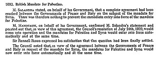 Mandate for Palestine - The mandates comes into force, Council of the League of Nations minutes, 29 September 1923