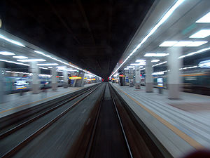 Motion (physics) - Motion involves a change in position, such as in this perspective of rapidly leaving Yongsan Station.