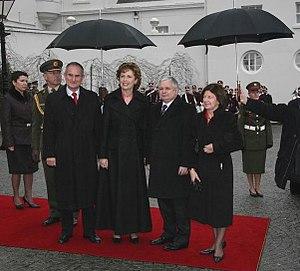 Martin McAleese - Martin McAleese (left) with wife, Mary McAleese and Lech Kaczyński and his wife at Áras an Uachtaráin