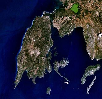 Lefkada - The island of Lefkada in a NASA World Wind satellite picture.