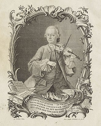 Leopold Mozart - The first edition of Leopold Mozart's Violinschule included this portrait of the author. Some aspects of violin playing in his day can be seen: the lightweight, concave bow and the absence of any chin rest or shoulder rest.