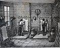 """Les merveilles de l'industrie, 1873 """"Echarnage et ponçage du parchemin, sur la herse"""". (4727198534).jpg"""