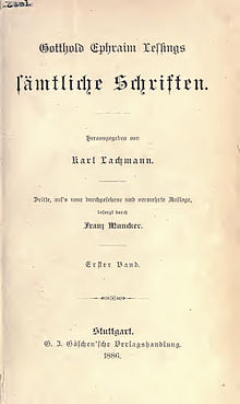 An 1886 edition of Lessing's collected works (Source: Wikimedia)