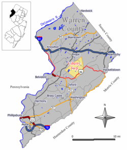 Map of Liberty Township in Warren County. Inset: Location of Warren County highlighted in the State of New Jersey.
