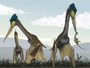 Life restoration of a group of giant azhdarchids, Quetzalcoatlus northropi, foraging on a Cretaceous fern prairie.png