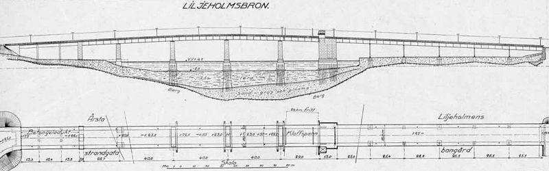 """""""Nya Liljeholmsbron"""" sektion og plan, 1928."""