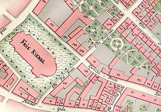 Fiolstræde - Lille Fiolstræde seen on Gedde's maps of Copenhagen from 1757