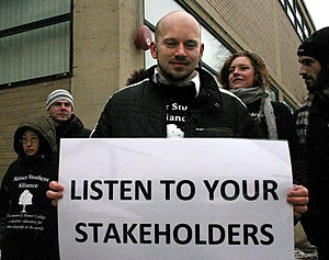 Stakeholder theory - Protesting students invoking stakeholder theory at Shimer College in 2010