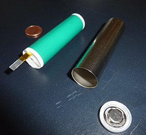 Rechargeable battery - Cylindrical cell (18650) prior to assembly. Several thousand of them (lithium ion) form the Tesla Model S battery (see Gigafactory).