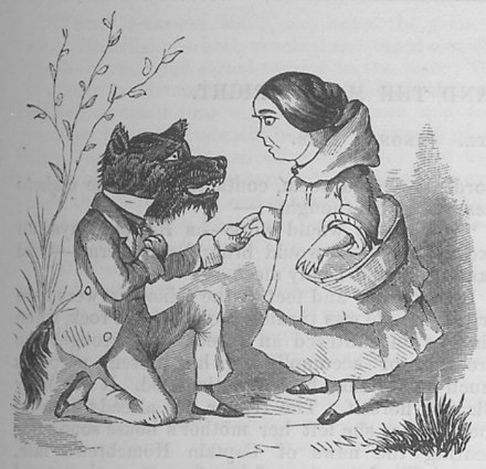 An engraving from the Cyclopedia of Wit and Humor. Little Red Riding Hood and the Wolf (1858).jpg