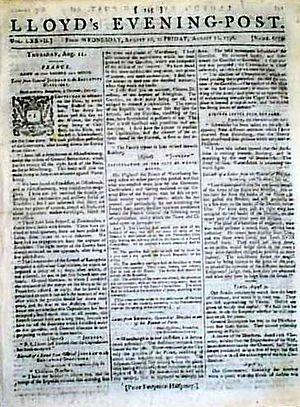 Lloyd's Evening Post - Lloyd's Evening Post front page, 10 August 1796
