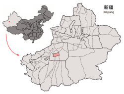 Location of Aral within Xinjiang (China).png