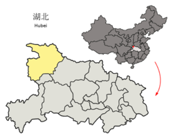 Location of Shiyan City jurisdiction in Hubei