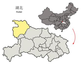 Shiyan - Image: Location of Shiyan Prefecture within Hubei (China)