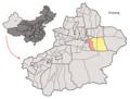 Location of Toksun within Xinjiang (China).png