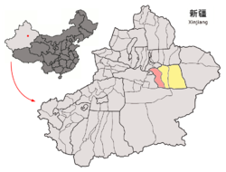 Location of Toksun County (red) within Turpan City (yellow) and Xinjiang