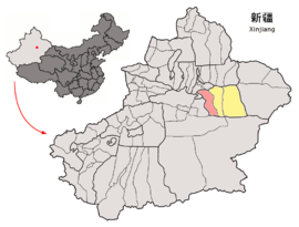 Location of Toksun within Xinjiang (China).png