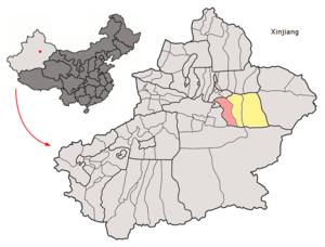 Toksun County - Image: Location of Toksun within Xinjiang (China)