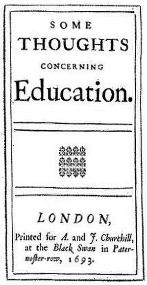 Some Thoughts Concerning Education - Title page from the first edition of Locke's Some Thoughts Concerning Education (1693)