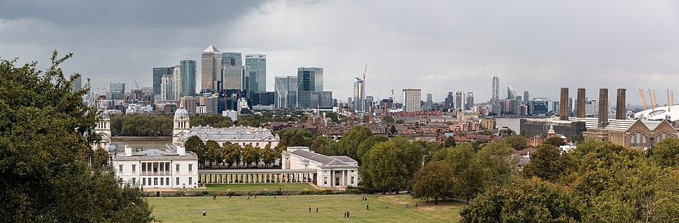 The Royal Greenwich Observatory with Canary Wharf in the background in October 2016