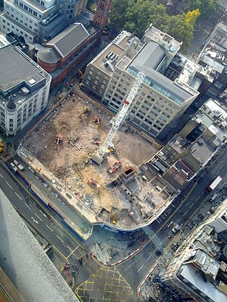 London Astoria - The Tottenham Court Road construction site (2009) on the former site of the Astoria, the green of Soho Square is seen at the top