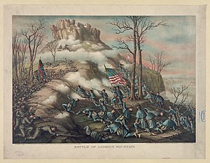 Battle of Lookout Mountain - Battle of Lookout Mountain, 1889 lithograph  by Kurz and Allison