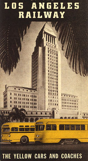 Los Angeles Railway - Image: Los Angeles Railway Yellow Car and coaches map (cover), 1942