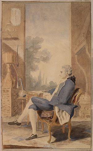 Louis-Léon de Brancas - Louis-Léon-Félicité de Brancas, 3rd duc de Lauraguais seated in his study, with chemical apparatus.