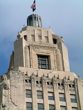 Louisiana State Capitol - Closeup of the tower's cupola and beacon