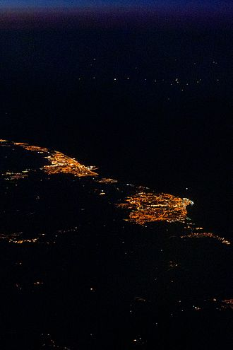 Lowestoft - Lowestoft (right) and Great Yarmouth (left) at night