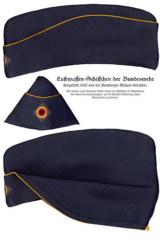 "Side cap - German Air Force Garrison cap (Schiffchen ""small ship"") from 1962 with flaps up (top) and flaps folded down (bottom)"