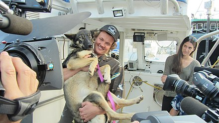 After she was lost at sea near San Clemente Island for 5 weeks, Luna the Dog is Reunited with Nick Haworth at San Diego Tuna Fleet Docks, March 2016 Luna the Dog is Reunited with Nick Haworth.jpg