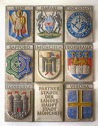 Plaque in the Neues Rathaus (New City Hall) showing Munich's twin towns and sister cities Munchens Partnerstadte.jpg