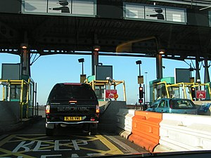 English: M4 toll booth