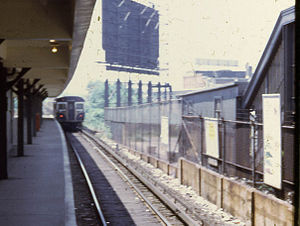 Savin Hill (MBTA station) - An outbound train leaves Savin Hill in 1967