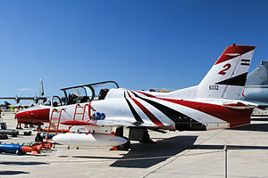 Arab Organization for Industrialization - Egyptian Air Force K-8E on display at the 2015 Malta International Airshow