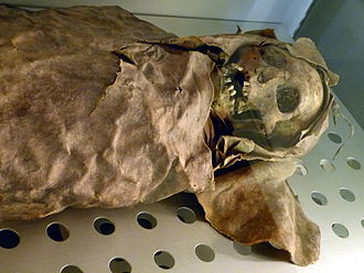 Canary Islands - Guanche mummy of a woman (830 AD). Museo de la Naturaleza y el Hombre, Santa Cruz de Tenerife.