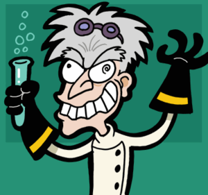 Mad scientist caricature