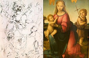 Leonardeschi - Madonna by Andrea del Brescianino held in Naples, based on Leonardos sketch, held in Royal Library, Windsor
