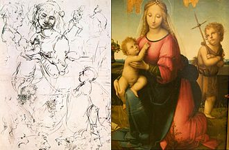 Leonardeschi - Madonna by Andrea del Brescianino held in Naples, based on Leonardos sketch, held in Royal Library, Windsor