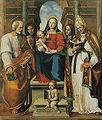 Madonna col Bambino e i Santi Pietro, Sebastiano, Cosma, Silvestro e Giovannino di Leonardo Malatesta (1518).jpg