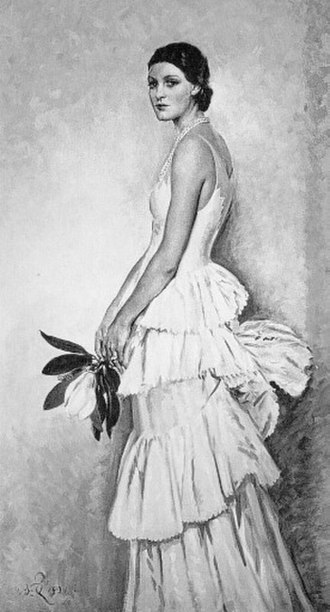 Norman Hartnell - Magnolia (1931) by William Bruce Ellis Ranken, showing a dress by Hartnell. The painting was given to Hartnell at Ranken's death in 1941.
