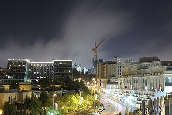 English: Mamila area in Jerusalem night shot ע...