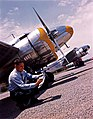 Man in front of Lockheed 12A Electra Junior Airplanes (11429470286).jpg