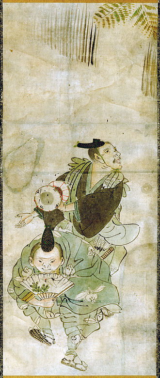 Manzai - A pair of Manzai performers at a New Year celebration; the tsukkomi at front, the boke behind him. 19th-century Japanese painting