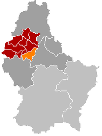Map of Luxembourg with Heiderscheid highlighted in orange, the district in dark grey, and the canton in dark red